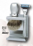 Saving set rust free, badger hair shaving brush, razor Gillette Mach 3, rust free stand, Made in Germany by Erbe Solingen