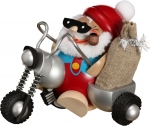 Santa on Motorcycle Smoker, handmade and handpainted wooden smoker from the Erzgebirge, Made in Germany by Seiffener Volkskunst