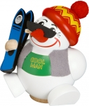 Snowman Ski Smoker, handmade and handpainted wooden smoker from the Erzgebirge, Made in Germany by Seiffener Volkskunst