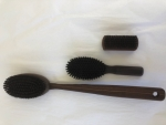 Shower-, Hair-, Nail- Brush Set Thermowood black Boar's Bristles