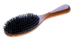 natural hair brush, oiled olive wood, natural boar's bristles mixed with plastic pins in cushion, 22 x 6 cm, Made in Germany. Great if you have lots of tangled hair.