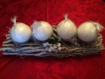 Advent wreath made of rattan and willow, nature, rectangular, 4 candle holders, 3 x 15 x 40 cm