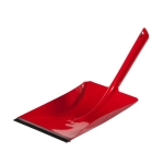 metal dustpan coated red with rubber lip, 24 cm wide, 38 cm long, Made in Germany