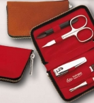 Manicure Set leather red scissors tweezers nail cuticle nipper clipper clipser stainless steel Made in Germany Chrome
