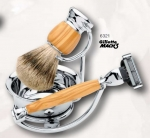 Shaving Set 4 Olivewood, Silvertip Badger Hair shaving brush