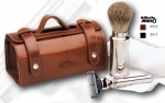 Travel Shaving Set, leather antique style case, badger hair shaving brush, Mach 3 blades