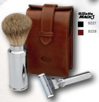 Travel Shaving Set leather case antique style badger hair shaving brush Mach 3 razor blade