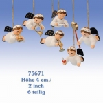 Set of 6 Angel Ornaments KWO Erzgebirge Germany
