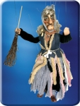 Large handmade Witch Marionette with hand carved wooden face, hands, shoes. Made in Prague.