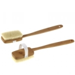 Shower and Back Brush waxed pearwood,straight and removable handle, cotton strap, medium strong pure natural hog bristles, length:41 cm. Made in Germany.