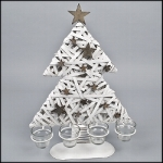 "Advent wreath ""Christmas Tree"" made of rattan and willow, 4 tea light glass candle holders, white washed, 35.5 x 47 cm"
