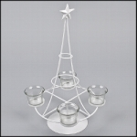 "Advent wreath ""Christmas Tree"", metal, white, 4 tea light candle holders, 20 x 40 cm"